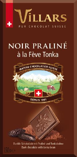 Villars Dunkle Schokolade Praliné mit Tonka
