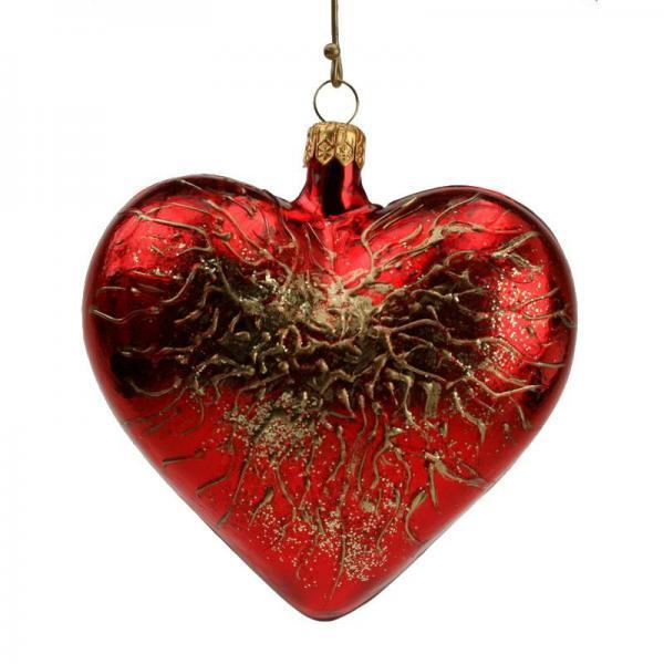 Weihnachtsschmuck Herz craqulé rot