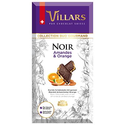 Villars Zartbitterschokolade mit Mandeln und Orangenschale