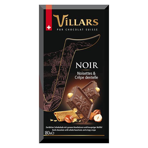 Villars Zarbitterschokolade mit Haselnüssen und knusprigen Waffelstückchen