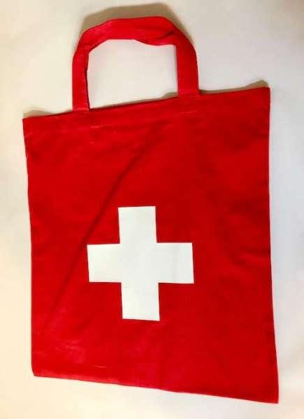 Baumwolltasche rot mit Schweizer Kreuz
