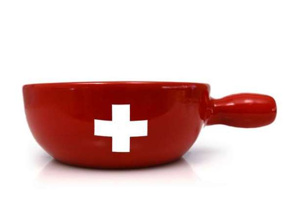Fondue Caquelon rot mit Schweizerkreuz aus Keramik