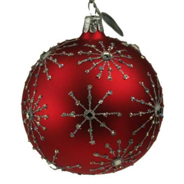 Weihnachtsschmuck Kugel 8cm funkelnde Sterne